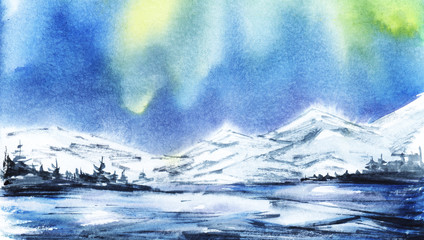 Winter landscape. Distant snowy mountains. Dark silhouette of spruce forest, snow-covered valley or frozen lake. Northern Lights. Hand-drawn watercolor illustration