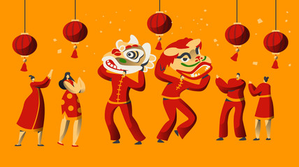 Chinese New Year Parade Character Set. Man Dance in Red Dragon Costume for China Holiday Celebration. Asian Traditional Festive Festival Greeting Card Template Flat Cartoon Vector Illustration - fototapety na wymiar