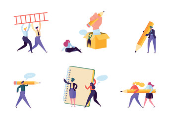 Creative Copywriter People Business Character Set. Writer Team Draw Pencil in Notebook. Hipster Freelancer Employee Success Career. Man Corporate Coworking Flat Cartoon Vector Illustration