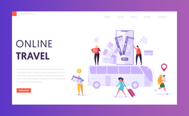 Book Vacation Bus Ticket Landing Page. Holiday Trip Online Card Pay Technology. Woman Character Buy Digital Voyage on Smartphone Website Concept or Web Page. Flat Vector Illustration