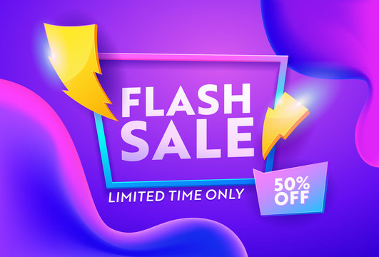 Flash Sale Purple Gradient Horizontal Poster. Online Ecommerce Discount Promotion Typography Template. Lightning Symbol on Closeout Colorful Badge Banner Design Vector Illustration