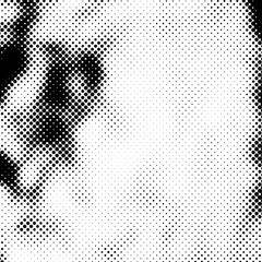 Grunge Halftone Vintage Vector. Ink Dots Texture Design Element. Black-White Abstract