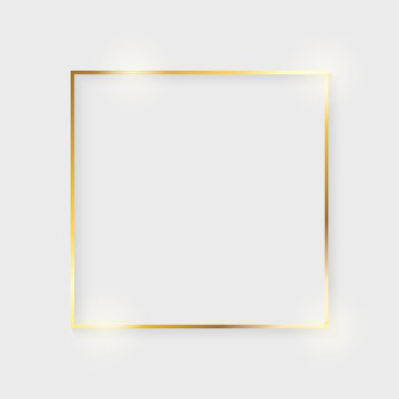Golden luxury shiny glowing vintage frame with shadows. Isolated on white background gold border decoration – stock vector