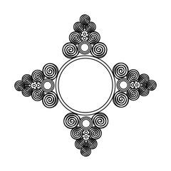 Obraz folk folklor vintage symbol ramka gwiazda strzałka etykieta czarny biały wzór - fototapety do salonu