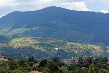 Poster Nepal Panorama with village of Gega and Ograzhden Mountain, Blagoevgrad Region, Bulgaria