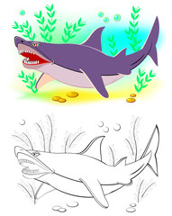 Fantasy illustration of cute shark. Colorful and black and white page for coloring book. Printable worksheet for children and adults. Vector cartoon image.