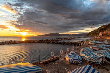 Chiavari beach and sea - Tigullio gulf - Ligurian sea - Italy