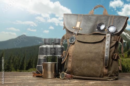Vintage Backpack Hiking Mug Clock And Binoculars Tourism Travel