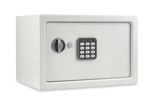 safe isolated on white background; electronic code lock on the safe