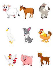 Farm animal collection set on white background