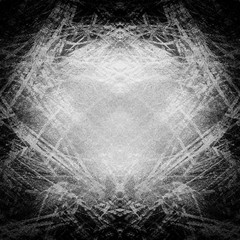 Dark square grunge background. Black and white abstract painted texture