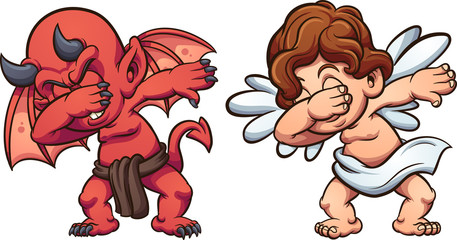 Dabbing angel and devil. Vector clip art illustration with simple gradients. Each on a separate  layer.