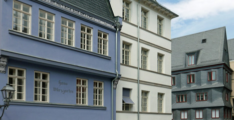 Buildings in the newly reconstructed Old Town of Frankfurt am Main, Germany