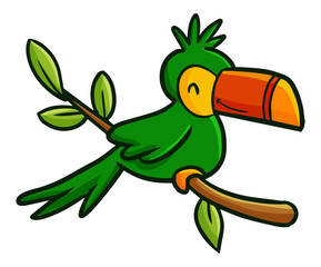 Funny and cute colorful green bird - vector