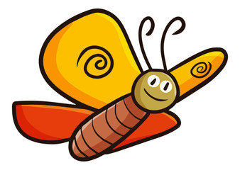 Cute and funny yellow orange butterfly smiling - vector