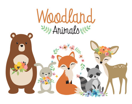 Cute woodland forest animals vector illustration including bear, bunny rabbit, fox, raccoon, and deer.