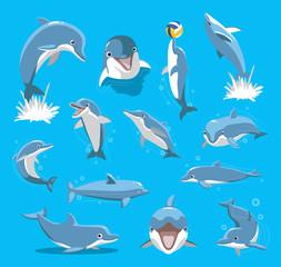 Bottlenose Dolphin Ball Cute Cartoon Vector Illustration