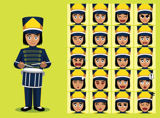 Marching Band Drummer Girl Cartoon Character Emotion faces