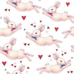 Lovely pink animation rabbit bunny hare with a bow in love is isolated on a white background. Children fantastic drawing. Handwork drawing markers. Seamless pattern for design.