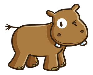 Funny and cute brown hippo smiling - vector
