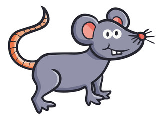 Funny and cute mouse smiling - vector