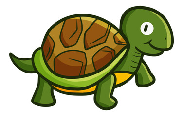 Cute and funny old turtle walking - vector