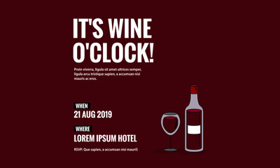 It's Wine o'clock Bottle and Glass Vector Illustration Invitation Design with Where and When Details