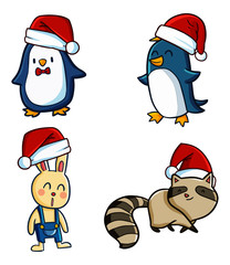 Cute and funny penguins, rabbit & racoon wearing Santa's hat for christmas celebration - vector