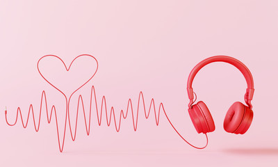 Red headphone with sound wave cable heart on pink background. Valentine love song concept. 3d rendering