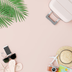 Wall Mural - Flat lay suitcase with traveler accessories on cream pink color background. summer travel concept. 3d rendering