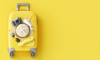 Wall Mural - Yellow suitcase with traveler accessories on yellow background. summer travel concept. 3d rendering