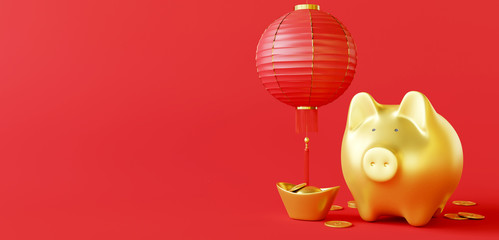 2019 Chinese New Year background, year of the pig. 3d rendering