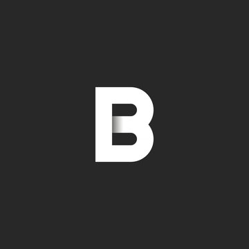 Elegant B letter logo paper cut material design, creative identity symbol for business card emblem