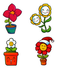 Cute and funny flower in pot set - vector.