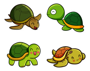 Funny and cute turtle set - vector.