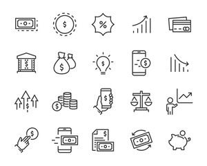 set of money icons, such as exchange, stock, payment, credit, account