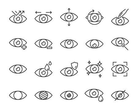 set of eye icons, such as eyedropper, sensitive, blind, eyeball, eyeproblem, lens