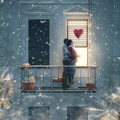couple on balcony on Valentine's day