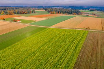 Luftaufnahme, Felder im Herbst, Schwäbischer Wald, Baden Württemberg, Deutschland