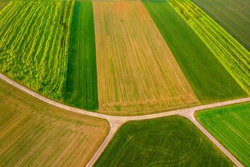 Luftaufnahme, Felder im Herbst, Filstal, Baden Württemberg, Deutschland