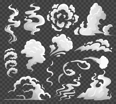 Smoke clouds. Comic steam cloud, fume eddy and vapor flow. Dust clouds isolated cartoon vector illustration