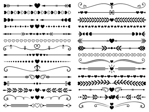 Hearts border divider. Love vintage decorative line separator, heart arrows and dotted separating lines isolated vector set