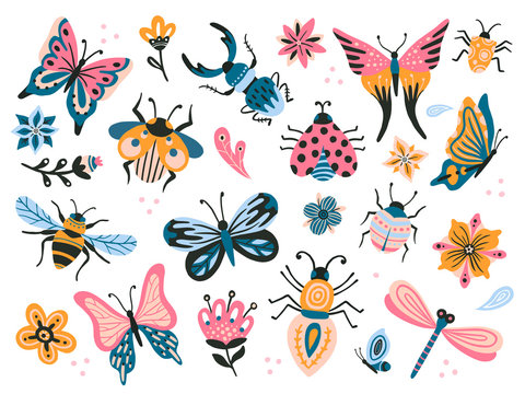 Cute bugs. Child drawing insects, flying butterflies and baby ladybird. Flower butterfly, fly insect and beetle flat vector set