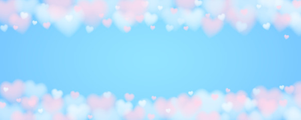 3d cloudy heart sky background for internet banner with copy space in soft blue and living coral red colors. stock vector illustration clipart