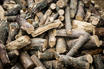 pile of sawn wood, close-up, natural background, texture