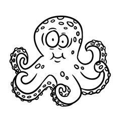 Cartoon style octopus illustration. Vector isolated coloring outline