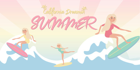 Summer poster with relaxing girl on the beach in pastel color. Editable vector illustration