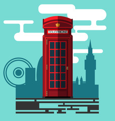 Phone booth on city background in a flat style, telephone booth, phone box, telephone box. Vector, EPS 10.