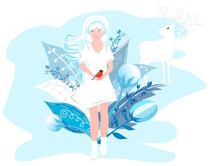 Vector Illustration Of Seasons. Winter girl in a white dress holding a bird in her hands. Cute girl with white hair on a background of abstract winter plants