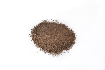 Pile heap soil humus isolated over a white background